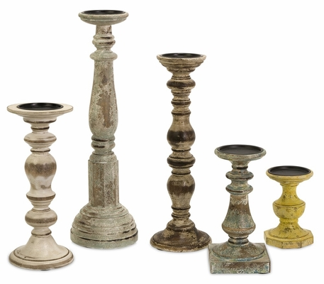 Kanan Wood Candleholders In Distressed Finishes (Set of 5) - IMAX - 5544-5