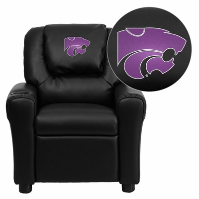 Kansas State University Wildcats Black Vinyl Kids Recliner - DG-ULT-KID-BK-45013-EMB-GG