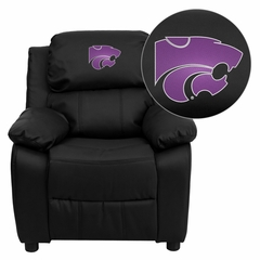 Kansas State University Wildcats Embroidered Black Leather Kids Recliner - BT-7985-KID-BK-LEA-45013-EMB-GG