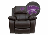 Kansas State University Wildcats Leather Rocker Recliner - MEN-DA3439-91-BRN-45013-EMB-GG