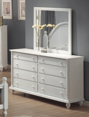 Kayla Dresser with Mirror in White - Coaster - 201183-84-SET