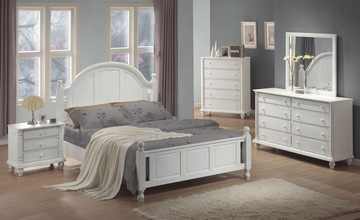 Kayla Eastern King Size Bedroom Furniture Set in White - Coaster - 201181KE-BSET