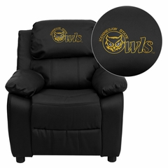 Kennesaw State University Owls Embroidered Black Leather Kids Recliner - BT-7985-KID-BK-LEA-41041-EMB-GG