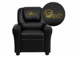 Kennesaw State University Owls Embroidered Black Vinyl Kids Recliner - DG-ULT-KID-BK-41041-EMB-GG