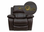 Kennesaw State University Owls Embroidered Brown Leather Rocker Recliner  - MEN-DA3439-91-BRN-41041-EMB-GG