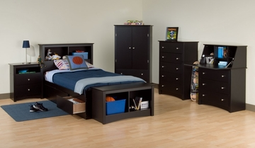 Kids Bedroom Furniture Set 1 in Black - Sonoma Collection - Prepac Furniture - SNM-KBSET-1