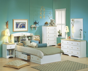 Kids Bedroom Furniture Set in Pure White/Maple - South Shore Furniture - 3263-BSET-1
