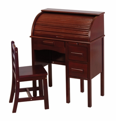 Kids Desk Set - Junior Roll-Top Desk and Chair Set in Espresso - Guidecraft - G97302