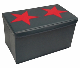 Kids Large Storage Ottoman with Star Design in Dark Blue/Red - RiverRidge - 02-048