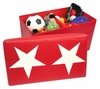 Kids Large Storage Ottoman with Star Design in Red/White - RiverRidge - 02-049