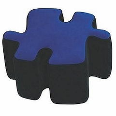 Kids Ottoman - Two-Toned Puzzotto in Blue - LumiSource - CHR-OTTO-BK-BU