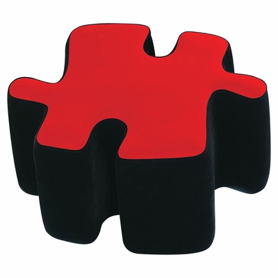 Kids Ottoman - Two-Toned Puzzotto in Red - LumiSource - CHR-OTTO-BK-R