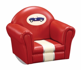 Kids Rocker - Retro Racer Upholstered Rocker in Multi Color - Guidecraft - G85808