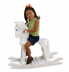 Kids Rocking Horse - Derby Rocking Horse in White - KidKraft Furniture - 19601
