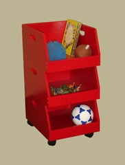 Kids Stacking Bins on Wheels (Set of 3) in Red - RiverRidge - 02-007