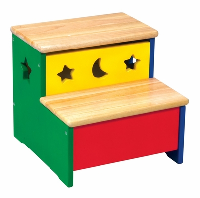 Kids Step Stool - Moon and Stars Storage Step-Up in Multi Color - Guidecraft - G98039