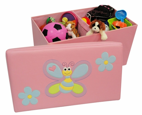 Kids Storage Ottoman with Bee and Flowers Design in Pink - RiverRidge - 02-047