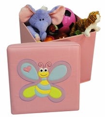 Kids Storage Ottoman with Bee Design in Pink - RiverRidge - 02-043