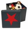 Kids Storage Ottoman with Star Design in Dark Blue/Red - RiverRidge - 02-044
