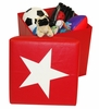 Kids Storage Ottoman with Star Design in Red/White - RiverRidge - 02-045