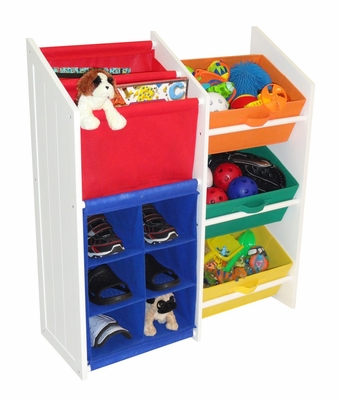 Kids Super Storage with 3 Primary Color Bins, Book Holder and 6-Slot Cubby - RiverRidge - 02-040