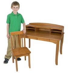 Kids Table and Chair Set - Avalon Desk with Hutch in Honey - KidKraft Furniture - 26706