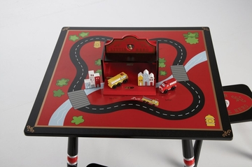 Kids Table and Chair Set - Firefighter Table and Two Stool Set - LOD20038