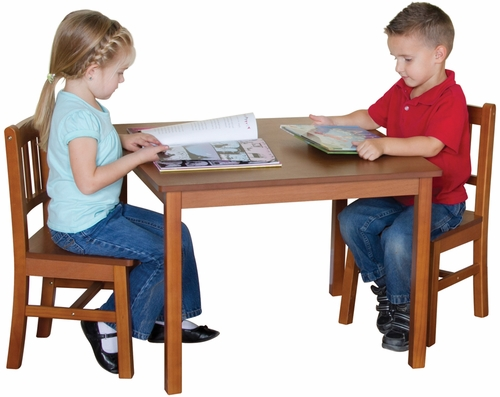Kids Table and Chair Set - Mission Table and Chair Set in Honey Oak Stain - Guidecraft - G86402