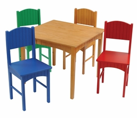 Kids Table and Chair Set - Nantucket Table and 4 Primary Chair Set - KidKraft Furniture - 26121