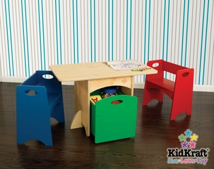 Kids Table and Chair Set - Natural Table with Primary Benches - KidKraft Furniture - 26161