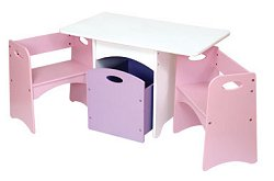 Kids Table and Chair Set - White Table with Pastel Benches - KidKraft Furniture - 26162