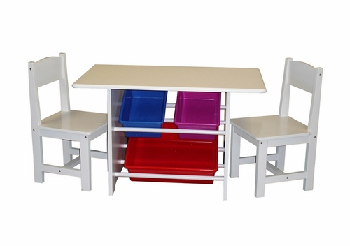 Kids Table with Chair Set with Plastic Storage Bins in White - RiverRidge - 01-004