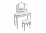 Kids Vanity Set - Classic White Vanity and Stool Set in White Matte - Guidecraft - G85710