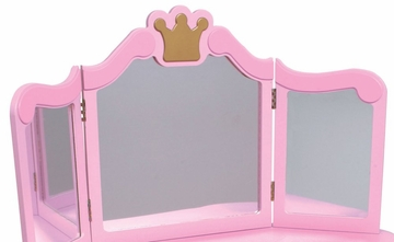 Kids Vanity Table Set - Princess Diva Vanity and Stool - KidKraft Furniture - 76125