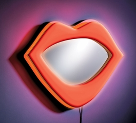Kids Wall Mirror - Neon Lips Wall Mirror in Red - LumiSource - WB-NWM-LIPS-R