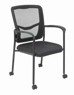 Kiera, Mesh side arm chair with casters - ROF-5175C-BK