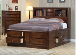 King Size Bed - Hillary Eastern King Size Storage Bed in Warm Brown - Coaster - 200609KE