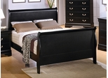 King Size Bed - Louis Philippe Eastern King Size Bed in Deep Black - Coaster - 201071KE
