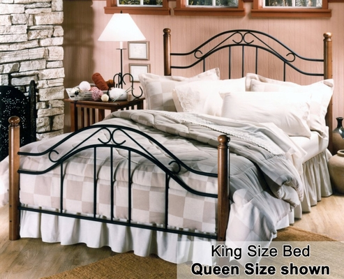 King Size Bed - Winsloh Eastern King Size Metal Bed with Wood Posts
