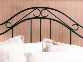 Queen Size Bed - Winsloh Metal Bed with Wood Posts in Black
