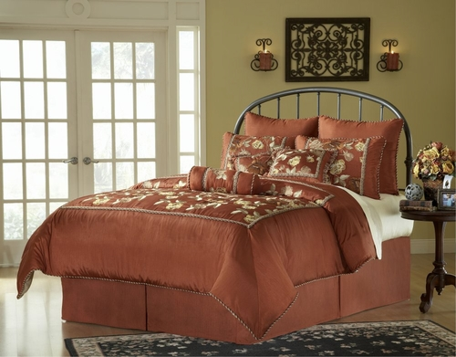King Size Comforter Set - 14 Piece Set in Cinnabar Pattern - 82EQ713CBR