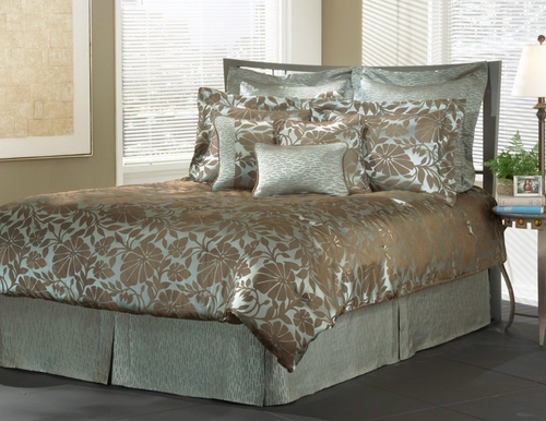 King Size Comforter Set - 14 Piece Set in Pearl Reef Pattern - 80EQ713PEA
