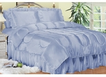 King Size Comforter Set - Charmeuse Satin 4-Piece in French Blue - 450KG2FBLU
