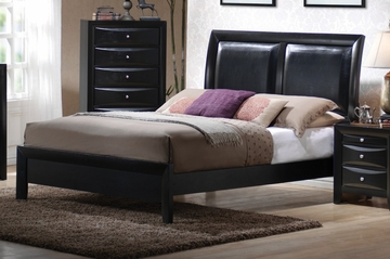 King Size Platform Bed - Briana Eastern King Size Platform Bed in Glossy Black - Coaster - 200701KE