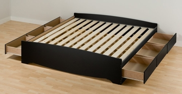 King Size Platform Storage Bed in Black - Sonoma Collection - Prepac Furniture - BBK-8400