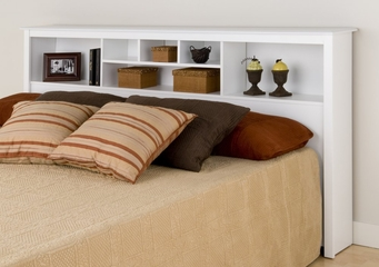 King Size Storage Headboard in White - Monterey Collection - Prepac Furniture - WSH-8445