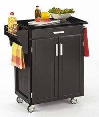 Kitchen Cart - Black Wood Cart with Black Granite Top - Home Styles - 9001-0044