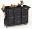 Kitchen Cart - Black Wood Cart with Black Granite Top - Home Styles - 9100-1044