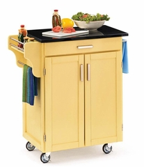 Kitchen Cart - Butter Yellow Wood Cart with Black Granite Top - Home Styles - 9001-0054