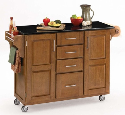 Kitchen Cart - Cottage Oak Wood Cart with Black Granite Top - Home Styles - 9100-1064